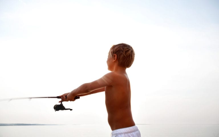 Captain Hiram Resort boy fishing